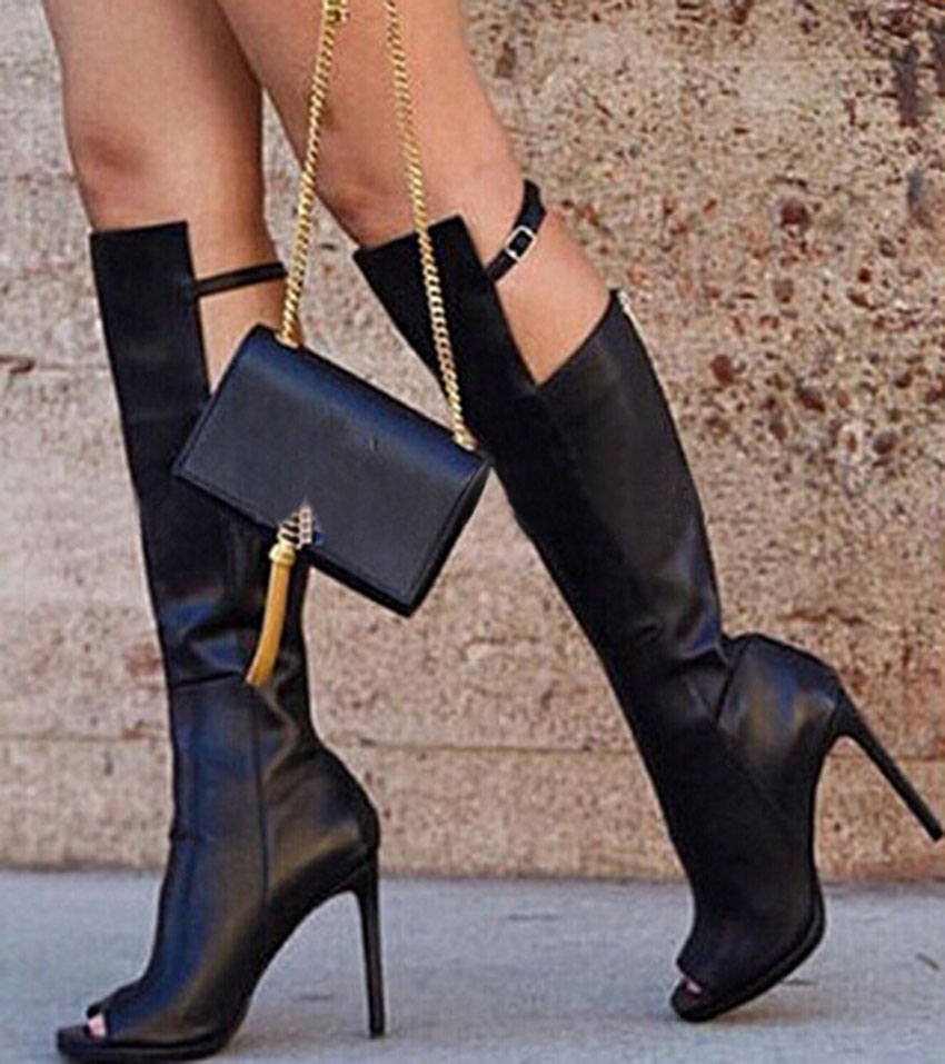 Hot Selling Black Soft Leather Peep Toe Knee High Women Boots Genuine Leather Thigh High Motorcycle Boots