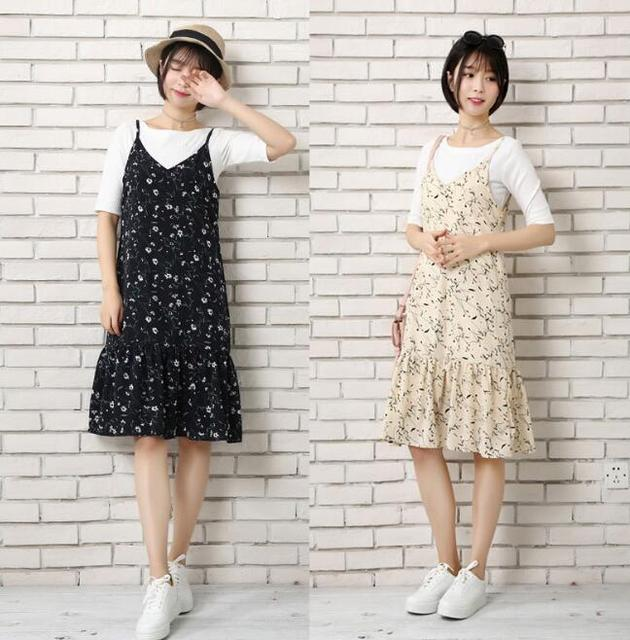 696f892207a Strap v neck chiffon women casual Sling dress printing 2018 Summer style Sexy  Sleeveless midi dress