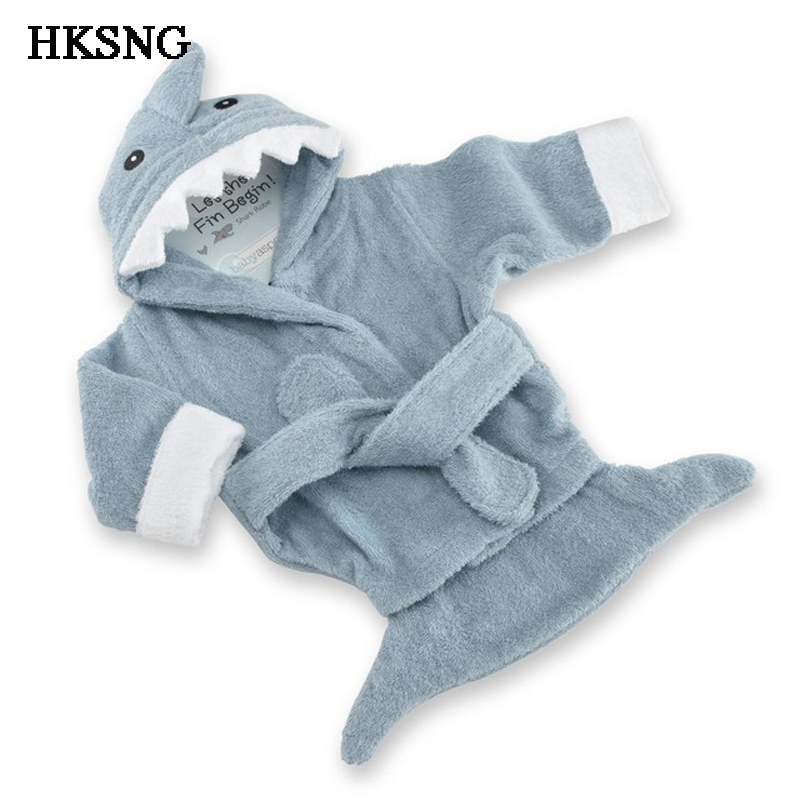 HKANG New Cute Cotton Baby Shark Bathrobe Pajamas Long Sleeve Sleepwear Hooded Cosplay Costume For Girl
