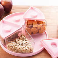 Creative Plastic Five Grid Dried Fruit Storage Boxes Organizer Modern Home Cartoon Candy Snacks Snacks Sealed Dried Fruit plate