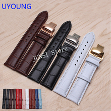 UYOUNG Watchband Butterfly deployment buckle 12mm14mm16mm18mm20mm22mm24mm Genuine Leather Bracelet woman's and Men's Watch band