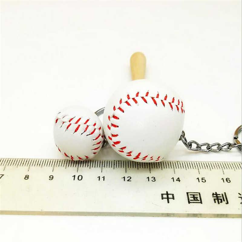 Nueva llegada creativo 3D cuero de béisbol llaveros bolso de metal llavero colgadores moda deporte joyería regalos de recuerdo