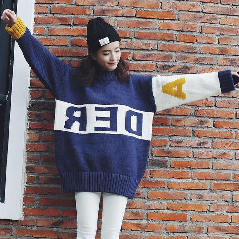 2018 new autumn wnter Pullover Sweater Woman Long Sleeve Loose Jumper Pullover Spell color Letter Printed Oversize Sweaters a618 ...