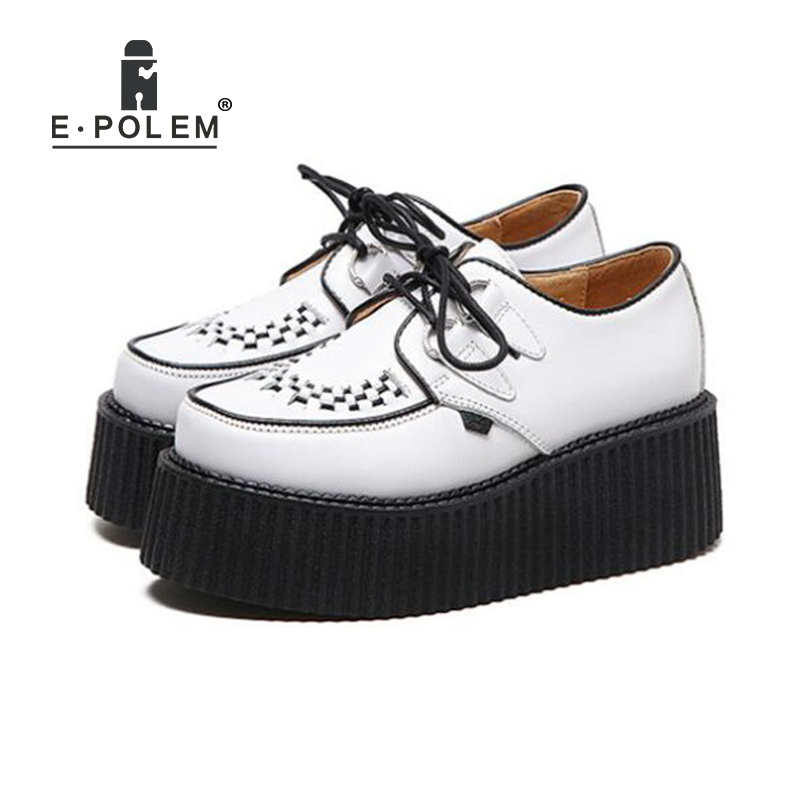 цена New Fashion White Harajuku Muffin Shoes Female British College Round Toe Lace Up Casual Shoes Leisure All-Match Platform Shoes