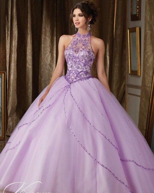 5cf87660f5 Jeweled Rebordear Cabestro Tul Lila Vestido de Quinceanera Princesa vestido  de Bola de Split Delantero Del