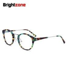 Moda europeia acetato feito à mão miopia prescrição óculos redondos mulher armação de lectura grau gafas