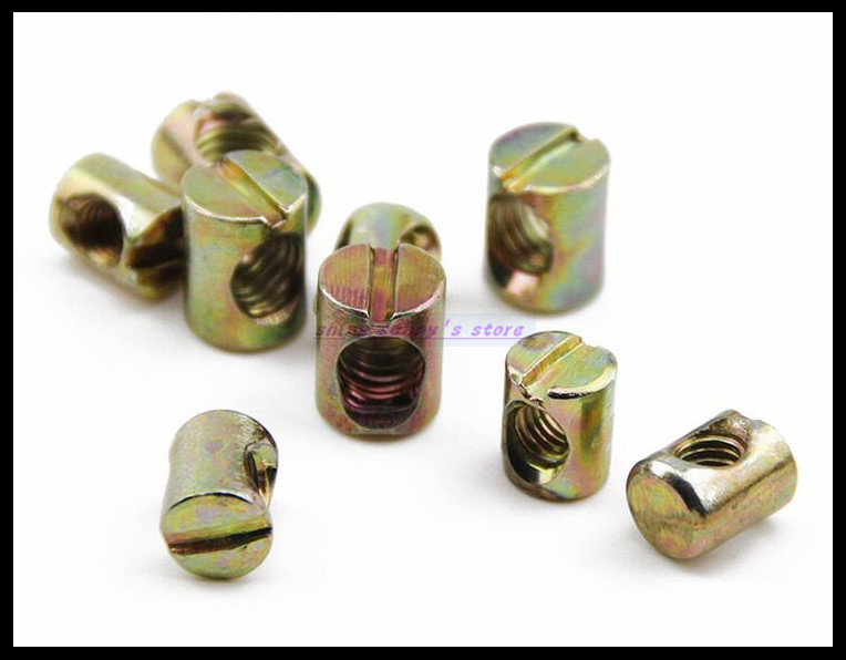 25pcs M5x10x8mm + 80pcs M6x20x10mm Barrel Bolt Cross Dowel Slotted Furniture Nut for Bed Crib Chair