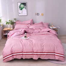 Solid color Fashion stripe Bedding Set  Duvet Cover Pillowcases comforter bedding sets bedclothes Bed Linen
