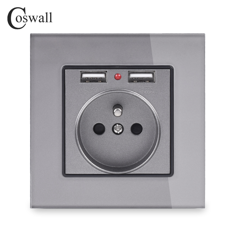 Coswall Crystal Glass Panel Dual USB Charging Port 2.1A 16A French Power Socket Wall Outlet Grey White Black Gold 4 Colors