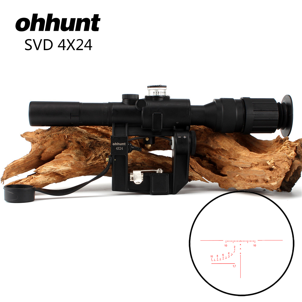 ohhunt Tactical Red Illuminated 4x24 PSO-1 Type Scope for Dragonov SVD Sniper Rifle Series AK RifleScope red illuminated 4x24 pso 1 type scope for dragonov svd sniper rifle series ak riflescope hunting trail rifle scopes