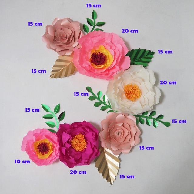 Diy Crepe Paper Flowers Artificial Flores Artificiale 6pcs 7 Leaves