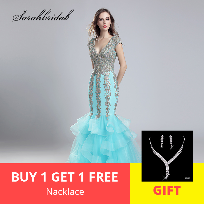 New Arrivals Real Photos Luxury Elegant Long Mermaid   Evening     Dresses   Tulle V-Neck Party Gowns Formal Robe De Soiree LSX556