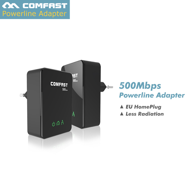 US $35 9 |Pairs 500Mbps Powerline PLC Network Power line Ethernet Adapter  extender homeplug Powerline COMFAST CF WP500M-in Powerline Network Adapters
