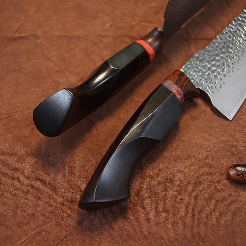 Fzizuo 8.5 인치 vg10 다마스커스 강철 요리사 칼 흑단 손잡이 gyuto 칼 스테인리스 부엌 칼 칼집으로 요리 도구-에서주방 칼부터 홈 & 가든 의  그룹 3