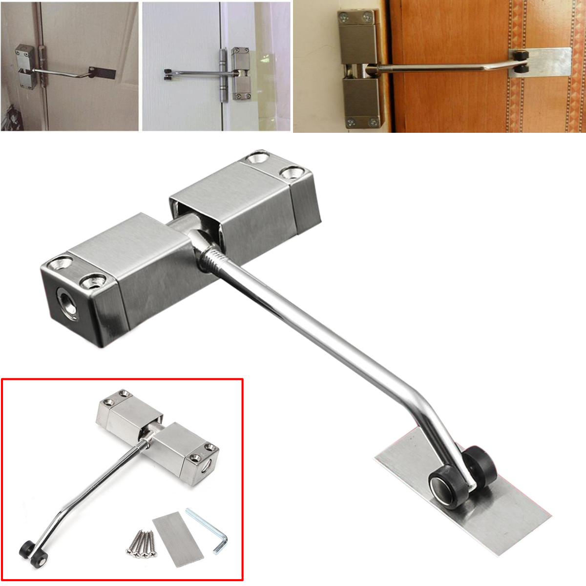 DSHA 1pc Automatic Mounted Spring Door Closer Stainless Steel Adjustable Surface Door Closer 160x96x20mm 1pc automatic mounted spring door closer stainless steel adjustable surface door closer 160x96x20mm page 8