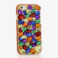 Luxury Women Handmade 3D Colorful Diamond Rhinestone Phone Cover Case For IPhone 4 4S 5 5S