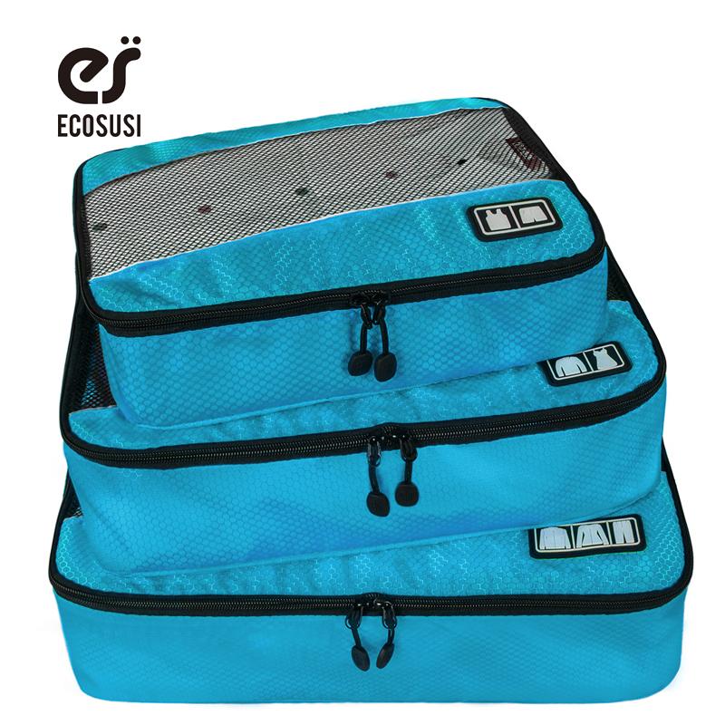 Prix pour Ecosusi nouveau voyage accessoires sac 3 pcs/ensemble emballage cubes polyester sacs pour les vêtements bagages emballage organisateurs sac