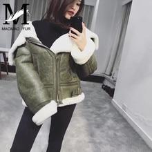 Women Sheepskin Jacket Winter Female Genuine Leather Outerwear Double Faced Fashion Ladies Warm Sheep Fur Lining Coats