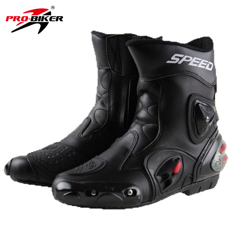 PRO-BIKER SPEED BIKERS Motorcycle Boots Wear-resistant Microfiber Leather Racing Motocross Motorbike Riding Mid-Calf Boots Shoes double buckle cross straps mid calf boots