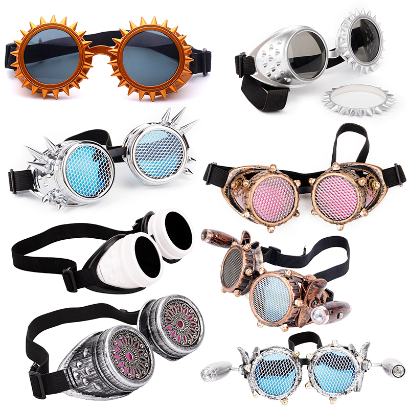 LELINTA Red Blue Lenses Steampunk Goggles With Fashion Desgin Rave Festival Party EDM Glasses Cosplay  Vintage Glass Eyewear