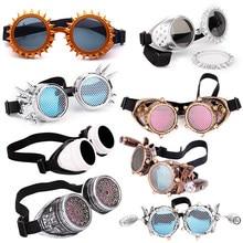 LELINTA – lunettes Steampunk à verres rouges et bleus, avec design à la mode, lunettes EDM de fête du Festival Rave, lunettes Cosplay Vintage en verre