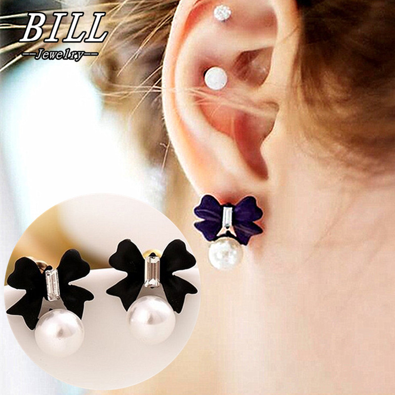 ES974 Bow Stud Earrings For Women Simulated Pearls Crystal Earring Fashion Jewelry Brincos