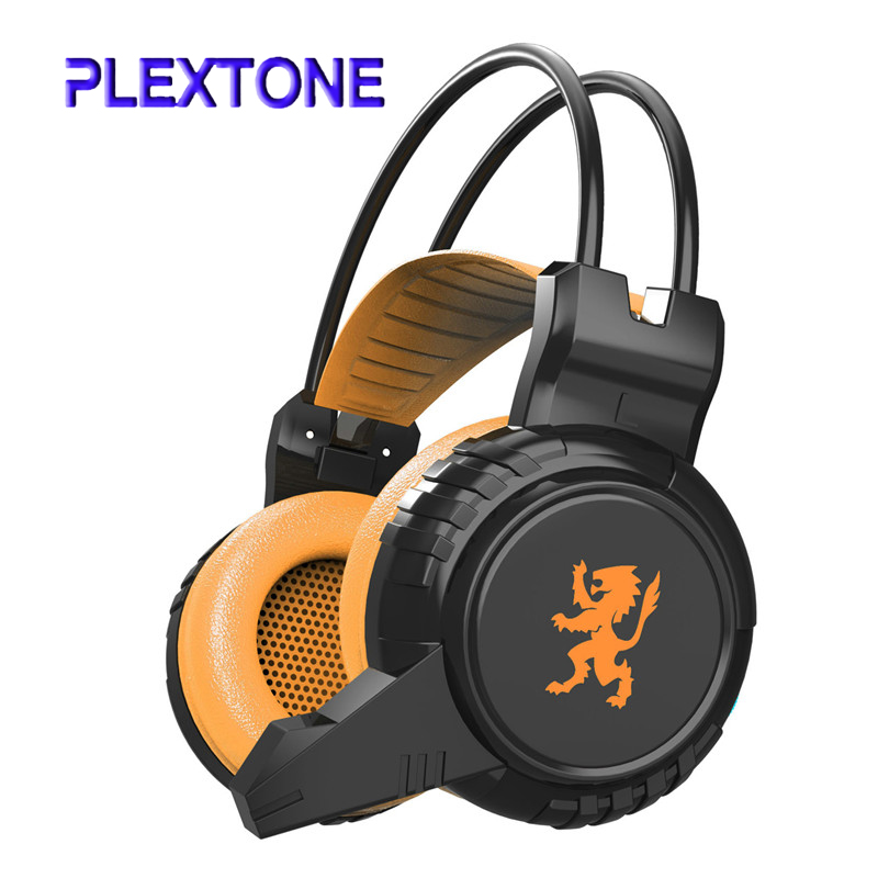 PLEXTONE Gaming Headset Over Ear Headband Wired Headphone Stereo Volume Control Super Bass LED Light with Mic for Computer Game new language leader advanced coursebook with myenglishlab pack