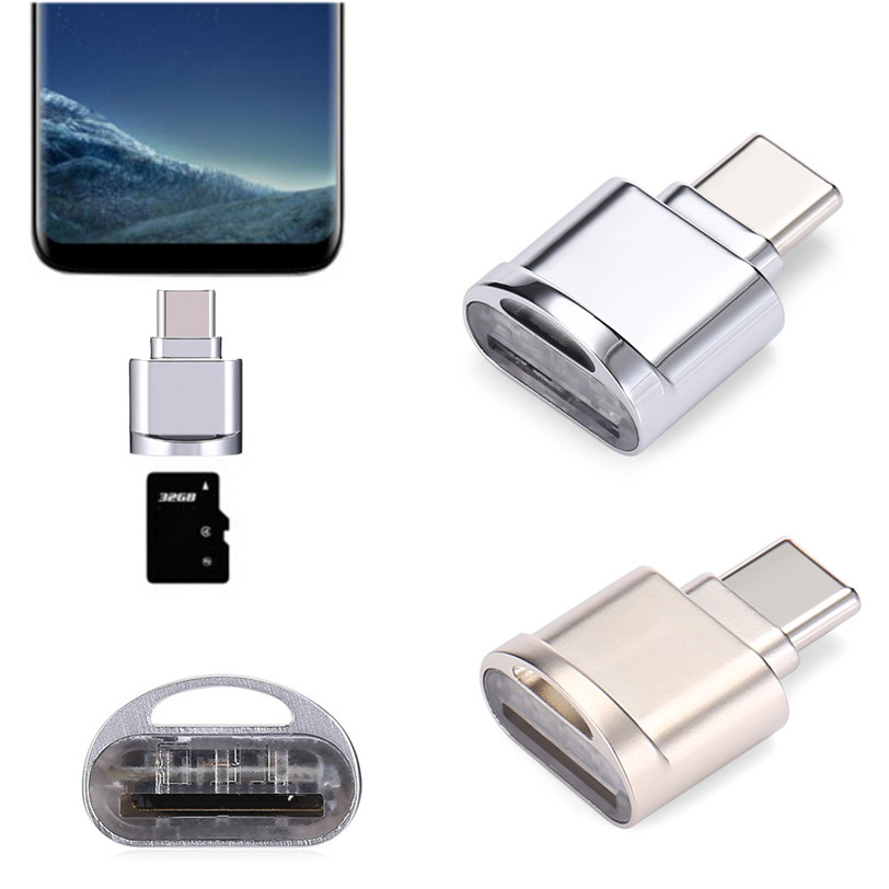 Micro SD TF Card Reader Alloy USB 3.1 Type C OTG Adapter For Samsung Galaxy S8 Lector De Tarjetas Aug3 Drop Shipping