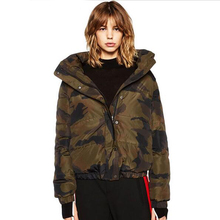 Colorful Apparel 2016 Back Letter Print Camouflage Women Down Jackets 2016 Winter Warm Outwear Coats  Army Green Jackets CA764