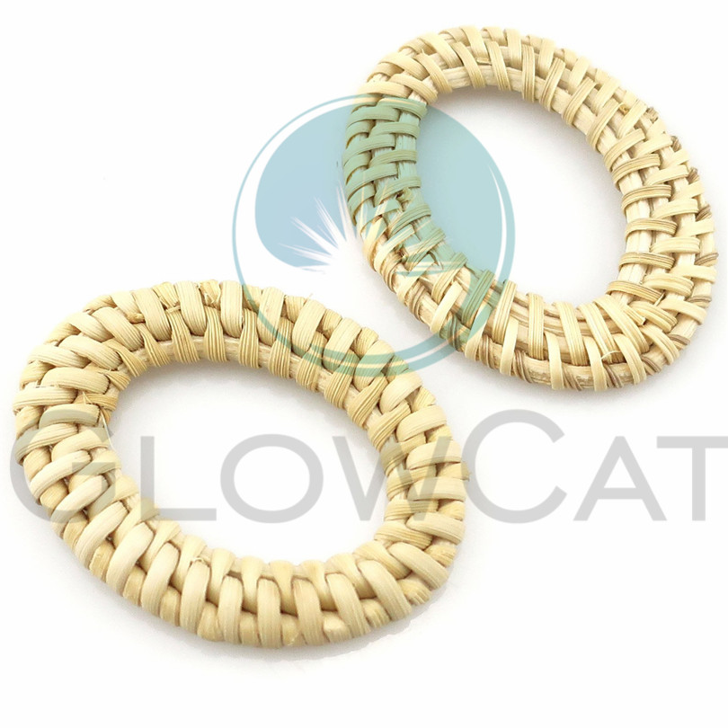Latest Collection Of 2pcs Geometric Oval Handmade Wooden Straw Weave Rattan Vine Braid Charms Diy Rattan Craft Earrings Supplies Excellent In Quality