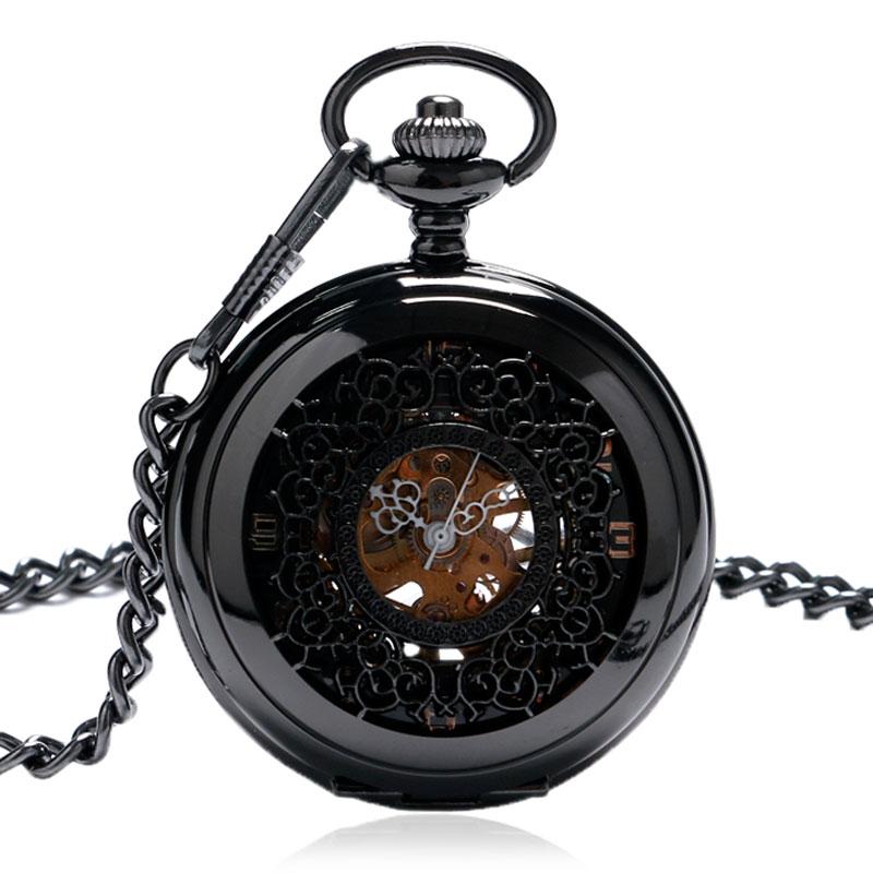 a6903a5becf65 جديد وصول أسود شبكات تصميم خمر جوفاء النساء الرجال ساعة الجيب الميكانيكية  هدية للجنسين P805C