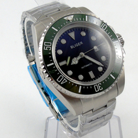 Bliger 44mm blau Sterilen zifferblatt grüne Keramik-lünette automatische herrenuhr