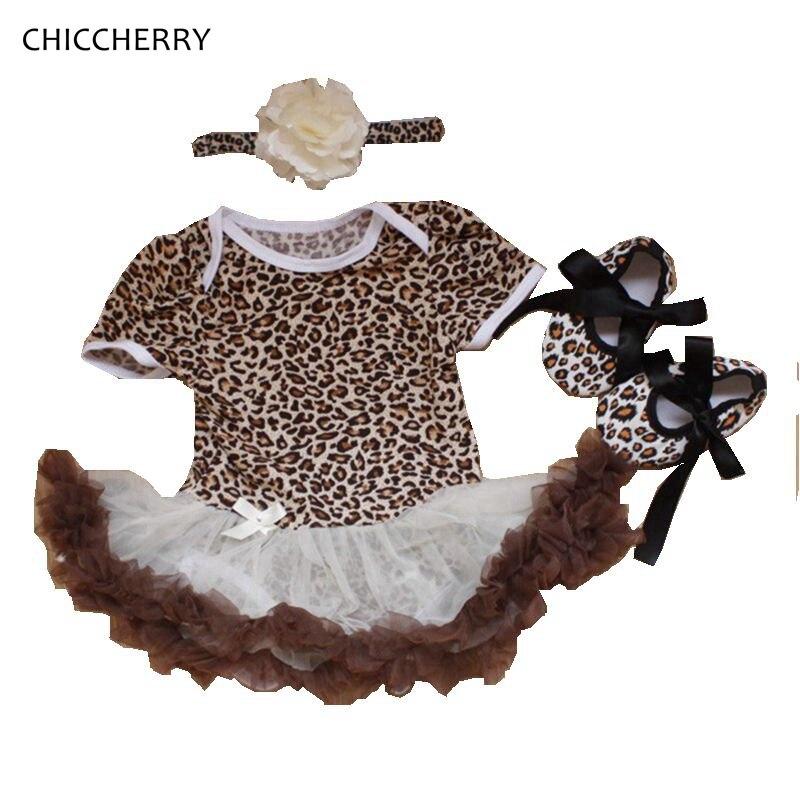 Vintage Leopard Baby Valentine Party Dress Newborn Lace Tutu Headband Sets Birthday Outfits Vestidos Bebe Toddler Girl Clothes