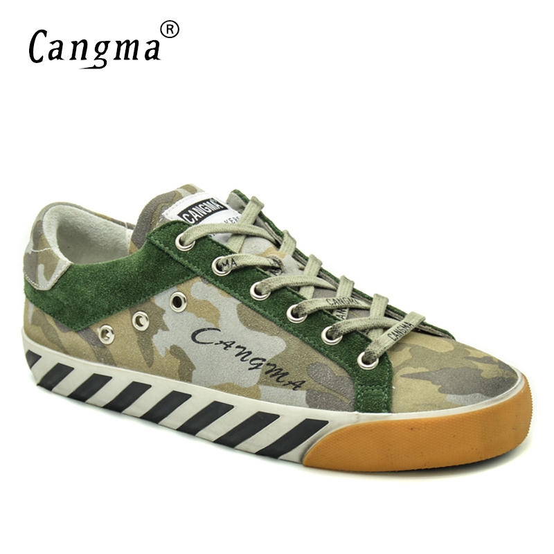 CANGMA Original Designer Brand Sneakers Vintage Camouflage Woman Shoes Cow Suede Green Flats Ladies Shoes For