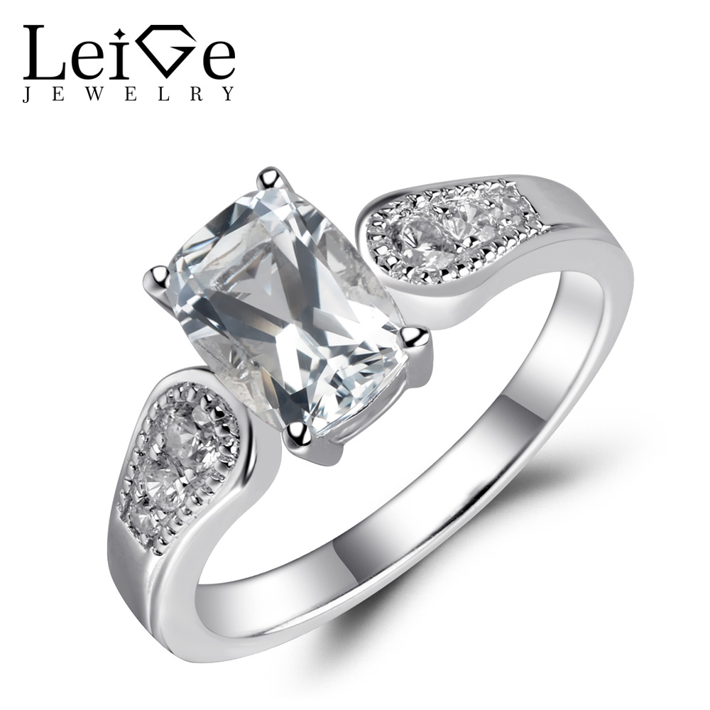 Leige Jewelry Cushion White Topaz Ring Sterling Silver 925 Natural Gemstone Fine Jewelry Love Engagement Wedding Rings for Women luxury brand design 925 sterling silver jewelry for women wedding love couple ring white gold color promise engagement rings