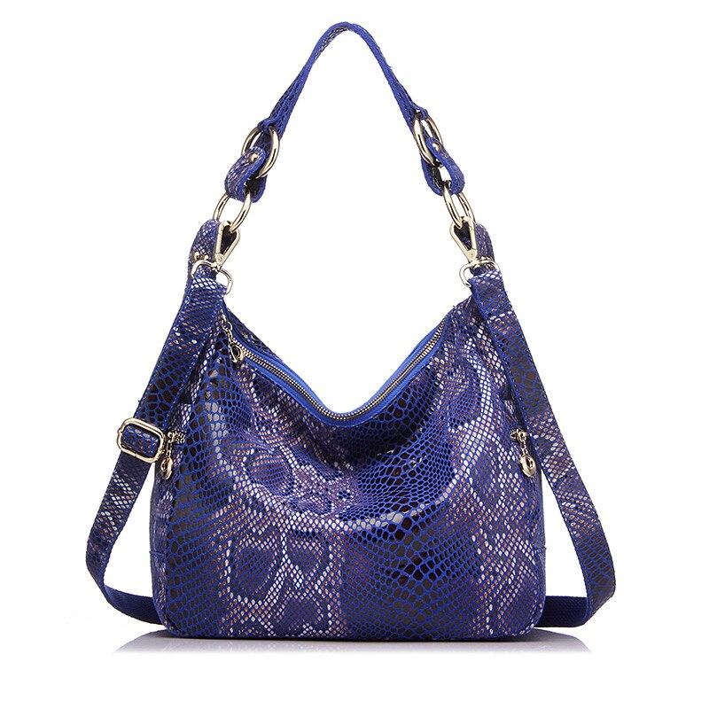 Woman Handbags Genuine Leather Totes Female Classic Serpentine Prints Shoulder Crossbody Bags Ladies School Messenger Bag
