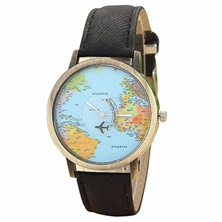Watch Global Travel World By Plane Map Men Women Watches Casual Denim Quartz Watch Casual Sports Watches Man relogio feminino
