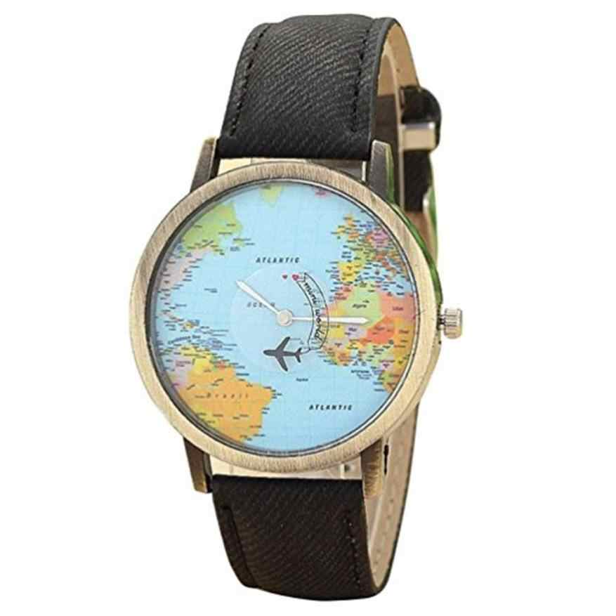 Watch Global Travel World By Plane Map Men Women Watches Casual Denim Quartz Watch Casual Sports Watches Man relogio feminino