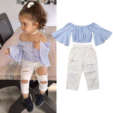 2PCS Fashion Toddler Kids Baby Girls Clothes Set Summer Off Shoulder Striped Flare Sleeve Tops+Ripped Hole Pants Outfits