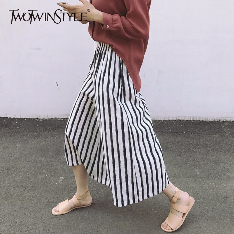 TWOTWINSTYLE Elastic High Waist Trousers For Women Wide Leg Pants Loose Big Size Striped Loose big Size Ankle Length Pants New