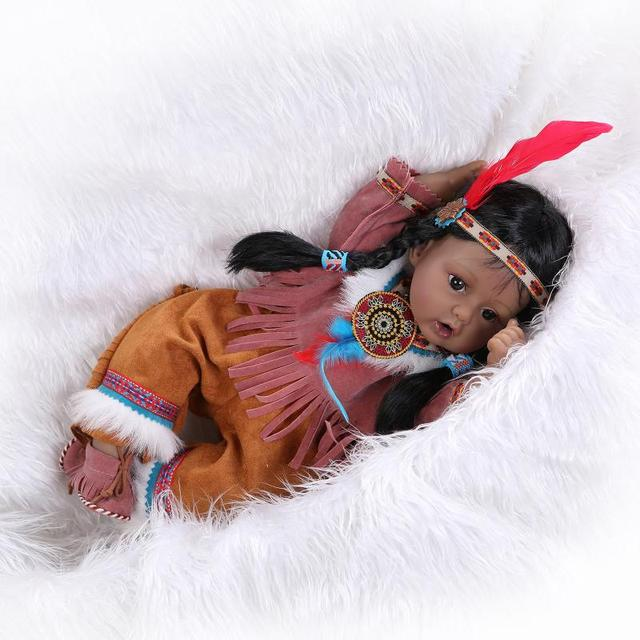 20inch Native American Indian Girl Silicone Doll Reborn