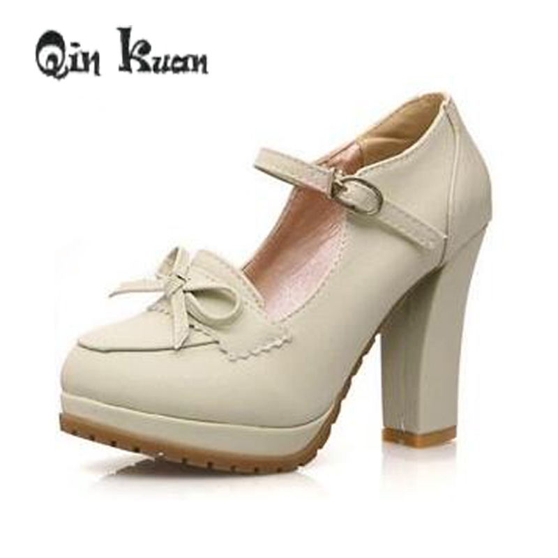 Loslandifen 34-39 Women Princess Lolita Bowtie Cute Japanese High Heels Pumps Shoes Cosplay Ankle Strap Shoes Student Leather PU