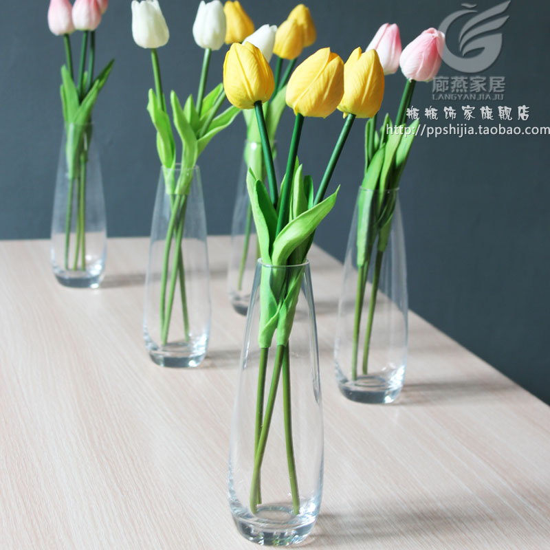 Single Tulip Flower Simple Small Vase Soft Decoration Glass Vase