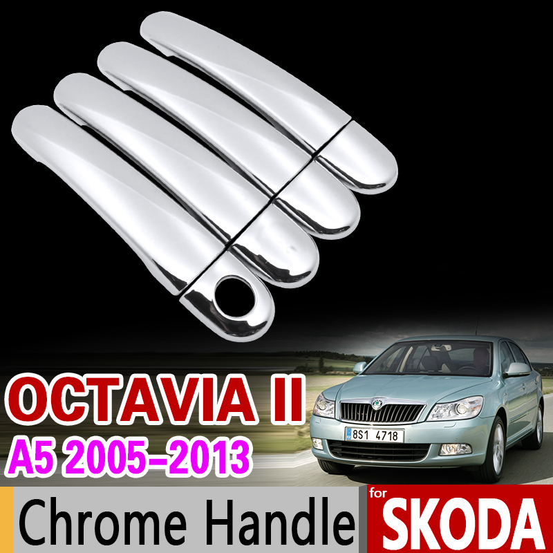 for Skoda Octavia a5 Chrome Handle Cover Trim Set Octavia II 2 2005-2013 2006 2007 2009 2010 Car Accessories Sticker Car Styling 5 5 car obd2 ii