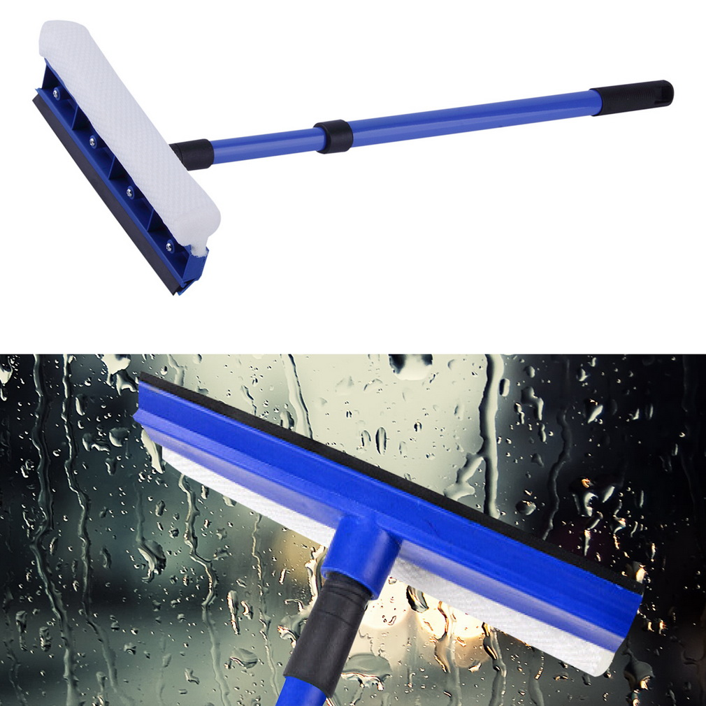 Double Sided Windshield Window Glass Wash Cleaner Brush with Adjustable Handle Wipe Glass Cleaning Tool