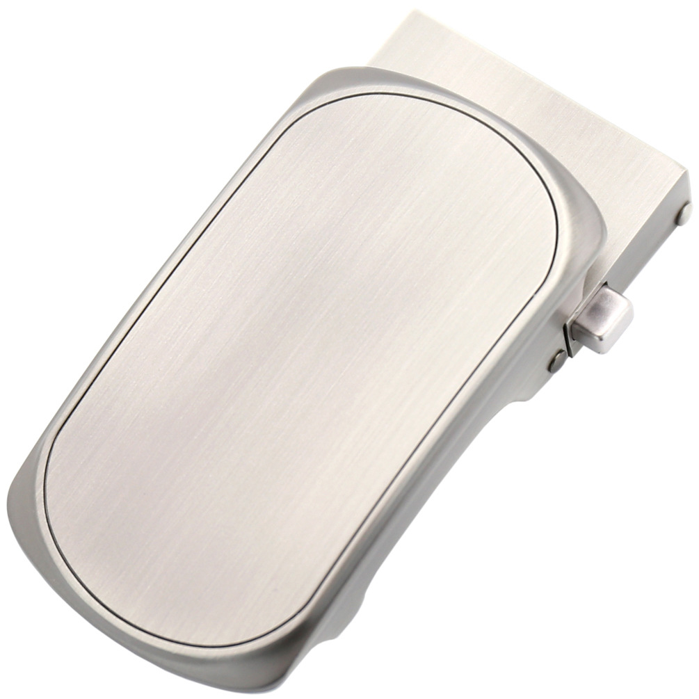 Inner Through Automatic Buckle Male Belts For Men Silver Ellipse Metal Buckle For 3.5cm Genuine Leather Belts CE55-561774