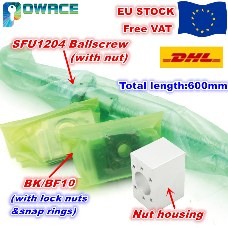 [Livraison ue] SFU1204 vis à billes L300/400/500/600mm avec 1204 écrou à billes + BK/BF10 + écrou de traitement standard