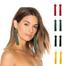 Vintage Ethnic Long Tassel Earrings Women 2018 Fashion Brand Jewelry Geometric Alloy Plating Simple Dangle Drop Earrings A32(China)