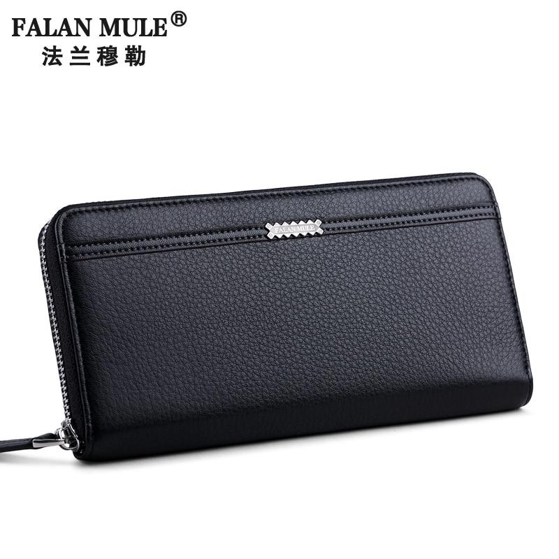 FALAN MULE Fashion Genuine Leather Men Wallets Long Zipper Purse Brand Business Male Clutch Purse