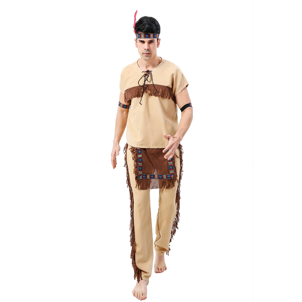 Fantasias Adulto Masculino Indian Costume  Halloween Native Primitive Tribe Costume Cosplay Outfits Clothing Carnival Party